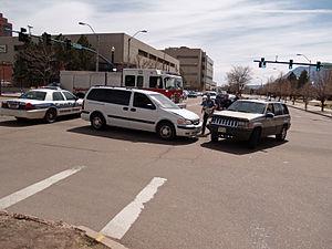 A car crash in Colorado Springs, Colorado.
