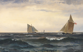 Seascape with two sailing ships.