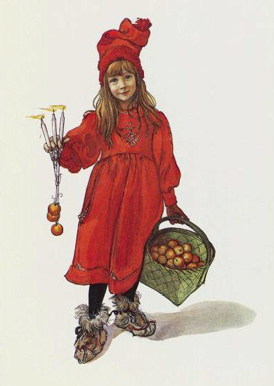 Illustration of girl in a red dress, holding 3 candles in one hand and a basket of apples in the other