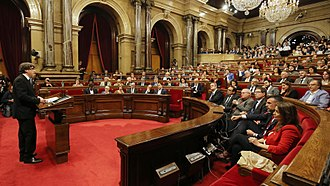 Parliament of Catalonia - Catalan President Carles Puigdemont gives a speech at the Catalan Parliament on 10 October 2017
