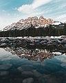 Castle Mountain reflected in calm waters.jpg