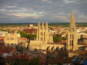 Burgos Cathedral - Overview from the north (left to right): Condastable Chapel, the Octagonal tower and the two western Flamboyant spires