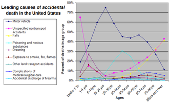 Preventable causes of death - Image: Causes of accidental death by age group (percent)