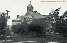 Postcard. Grand Rapids High School was founded in 1895.