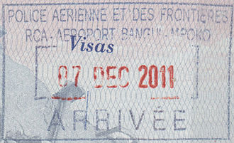 Visa policy of Central African Republic - Entry stamp