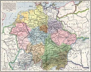 Stem duchy - The Eastern Frankish Kingdom (919–1125) with the later stem duchies: Saxony in yellow, Franconia in blue, Bavaria in green, Swabia in light orange, and Lotharingia in pink