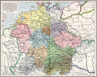 Duchy of Saxony - Stem duchies of the German kingdom 919-1125, by William R. Shepherd: Saxony in yellow, Franconia in blue, Bavaria in green, Swabia in light orange, Lower Lotharingia in dark pink, Upper Lotharingia in light pink, and Thuringia in dark orange