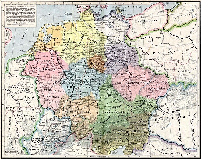 Central Europe, 919–1125. The Kingdom of Germany included the duchies of Saxony (yellow), Franconia (blue), Bavaria (green), Swabia (orange) and Lorraine (pink left). Various dukes rebelled against Otto's rule in 937 and again in 939.