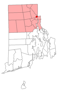 Location of Central Falls in Providence County, Rhode Island