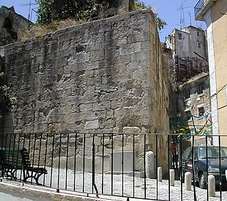 Part of the Cerca Velha (Old Wall), originally built by the Romans. CercaMouraTorreAlfama (cropped).JPG