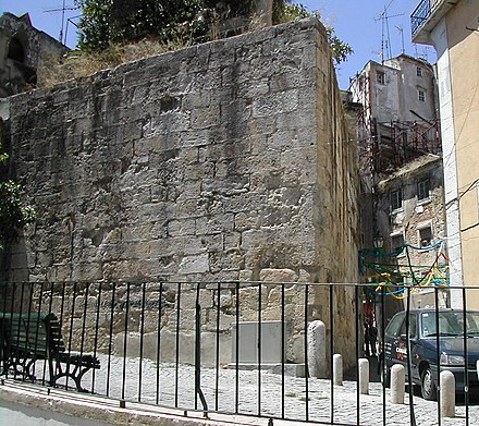 Part of the Cerca Velha (Old Wall), originally built by Romans. CercaMouraTorreAlfama (cropped).JPG