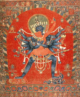 Kapala - The Buddhist Deities Chakrasamvara and Vajravarahi, circa 15th century Painting Kapala is seen on one of the left hands