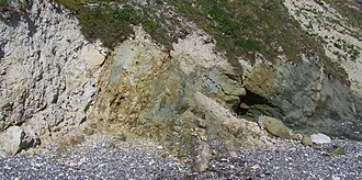 Chalk Group - Contact between two units of the lithostratigraphy of South England: the Chalk Group (left, white, upper unit) and the Greensand Formation (right, green, lower unit). Location: Lulworth Cove, near West Lulworth, Dorset, England.