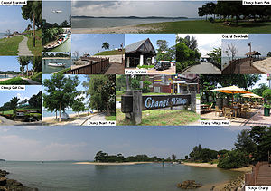 Changi - A montage of Changi Point, showing images of Sungei Changi (Changi River), Changi Beach Park, Changi Golf Club, Changi Point Coastal Walk, Changi Point Ferry Terminal, and Changi Village Hotel.