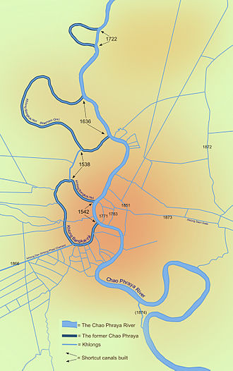 Bangkok - Bangkok's major canals are shown in this map detailing the original course of the river and its shortcut canals.