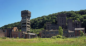 Coal mine of Hasard de Cheratte - View of varied architectures of the site.