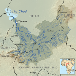 Map showing the Chari with the Nana Barya (center left)