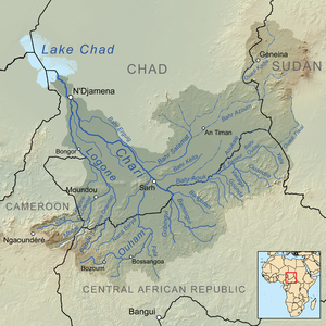 Chari River - Map showing the Chari River drainage basin.