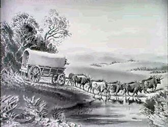 Charles Davidson Bell - Cape Wagon Crossing a River