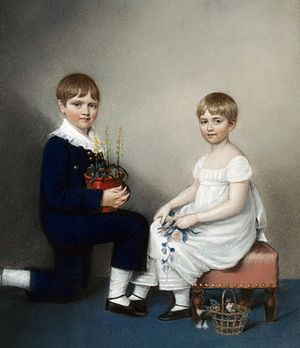 Ellen Sharples - An 1816 chalk drawing of Charles Darwin at age six with sister Catherine, by Ellen Sharples