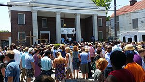 Charleston church shooting - A prayer vigil at Morris Brown African Methodist Episcopal Church