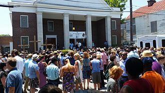 Charleston church shooting - A prayer vigil at Morris Brown African Methodist Episcopal Church