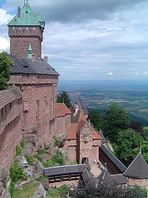 Château du Haut-Kœnigsbourg - View from the castle over the Alsatian plain up to the Black Forest