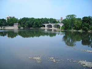 Chenango River - Mouth of the Chenango at the Susquehanna River in Binghamton, New York, showing WWI Memorial Bridge across the Chenango.