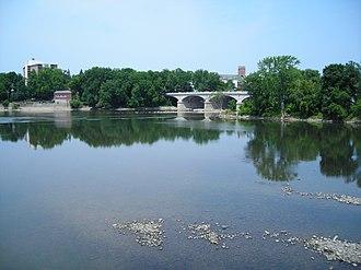 Chenango River - Mouth of the Chenango at the Susquehanna River in Binghamton, New York, showing WWI Memorial Bridge across the Chenango.
