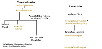 Chera dynasty - Family tree of the rulers of the Chera family (c. 1st - 4th century AD). Compiled from A Survey of Kerala History (1967) by A. Sreedhara Menon