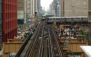 Orange Line (CTA) - Brown line and Orange line trains contend for the intersection at the southeast corner of the Chicago Loop. Photograph taken from the crossover walkway of the Adams/Wabash stop on the Green, Orange, Brown and Purple lines.