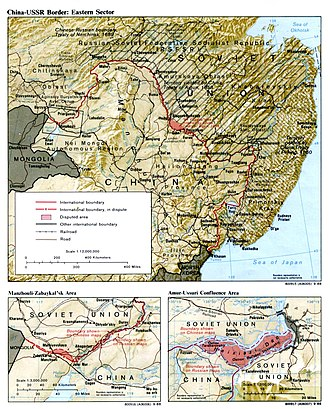 Sino-Soviet split - The disputed Argun and Amur river areas; the Damansky–Zhenbao is southeast, north of the lake. (2 March – 11 September 1969).