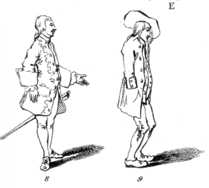 "Gilbert Austin - ""The position of the orator is equally removed from the awkwardness of the rustic with toes turned in and knees bent, and from the affectation of the dancing-master, constrained and prepared for springing agility and for conceited display"" (Chironomia Plate 1, Figures 8, 9)."
