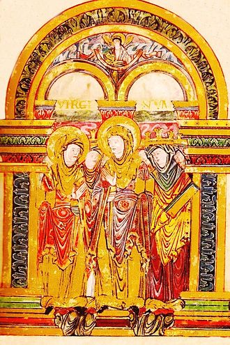 Female education - Page from an illuminated manuscript from the late 10th century. The three nuns in front are all holding books, and the middle one appears to be teaching, gesturing to make a point.