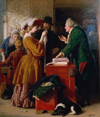 The Vicar of Wakefield - Choosing the Wedding Gown by William Mulready, an illustration of Ch. 1