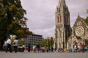 Cathedral Square, Christchurch - Cathedral Square in Christchurch, with ChristChurch Cathedral in the background prior to the 2011 earthquake