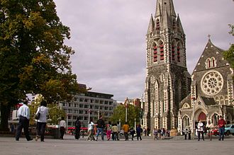 Cathedral Square, Christchurch - Cathedral Square in Christchurch, with ChristChurch Cathedral in the background prior to the 2011 Christchurch earthquake