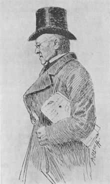 A black-and-white drawing of a middle-aged man dressed in a long coat. He wears glasses and a beaver hat. In his left arm are a walking stick and a copy of a newspaper.