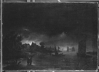 Stadt am Ufer im Mondschein
