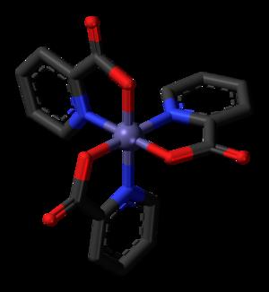 Chromium(III) picolinate - Skeletal stick model (hydrogen atoms omitted) of the chromium(III) picolinate complex