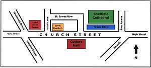Church Street (Sheffield) - A basic map of the Church Street area, showing the significant buildings.
