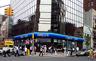 Mott Street - Mott Street at Chatham Square; a Citibank is in the foreground