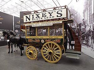 The man on the Clapham omnibus - A historical Brixton to Clapham horse-drawn bus on display at London Bus Museum.