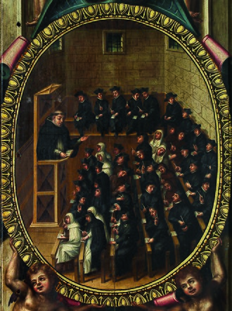 A 1614 painting depicting a lecture at the University of Salamanca. Class at Salamanca.jpg