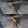 Close-up of the Klyuchevskaya Sopka (Klyuchevskoi) Volcano with lava flow, Kamchatka, Russia - November 10th, 2020 - Enhanced natural colors without (top) and with IR overlay (bottom) (50586185108).jpg
