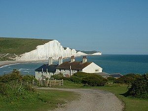 Seaford, East Sussex - The Seven Sisters chalk cliffs to the east of Seaford