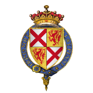 John Tiptoft, 1st Earl of Worcester - Arms of Sir John Tiptoft, 1st Earl of Worcester, KG: Quarterly 1 and 4: Argent, a saltire engrailed gules (Tiptoft); 2 and 3: Or, a lion rampant gules (Powys)