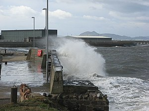 Coastal hazards - Cockenzie Harbour in a gale – geograph.org.uk – 370232
