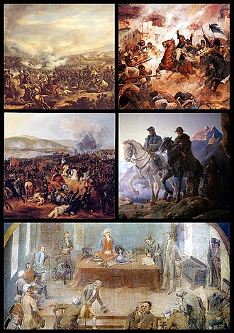 Chilean War of Independence - Clockwise from top left: Battle of El Roble, Battle of Rancagua, Crossing of the Andes, First Government Junta, Battle of Maipú