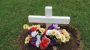 Colleen McCullough - Close-up of her headstone in Norfolk Island Cemetery, 2015